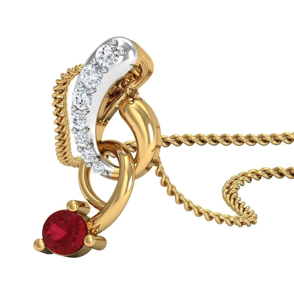 Diamoire Jewels Nature Inspired Pave Pendant in 18kt Yellow Gold, Diamonds and Red Intense Ruby