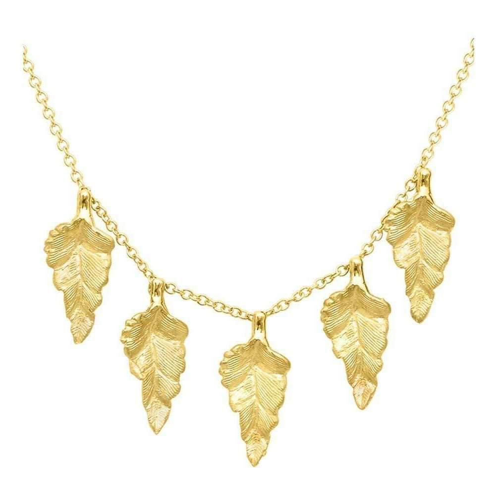 London Road Jewellery Kew Yellow Gold Leaf Necklace y6ItZ3mNjc