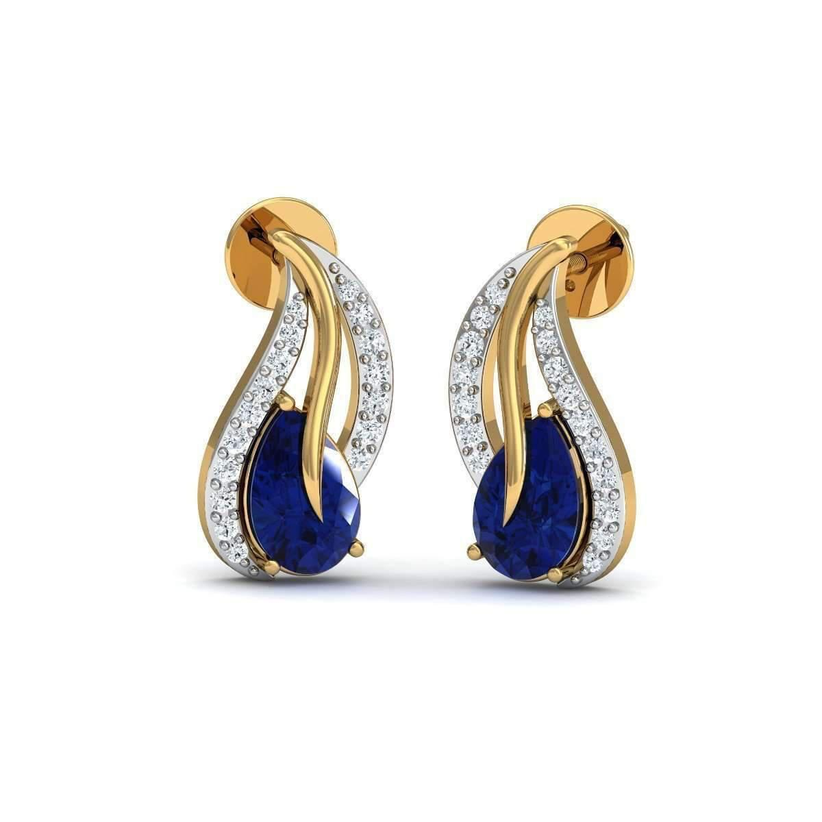 Diamoire Jewels Fillet Oval Blue Sapphire And Diamond Studs in 18kt Gold xIRJT3eH5D