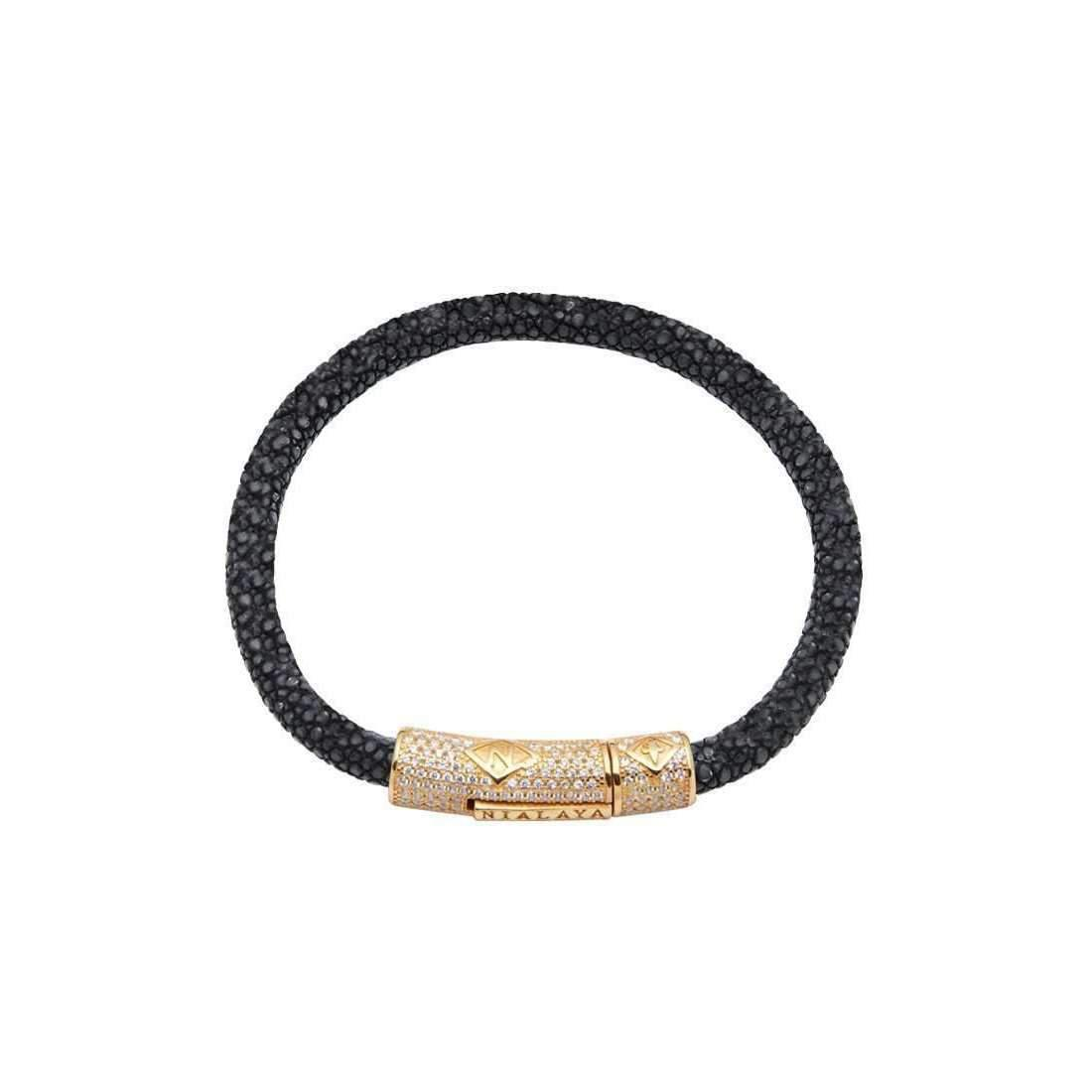 Nialaya Black Stingray Bracelet with Black Lock - Extra Large k3Jvg2baiv