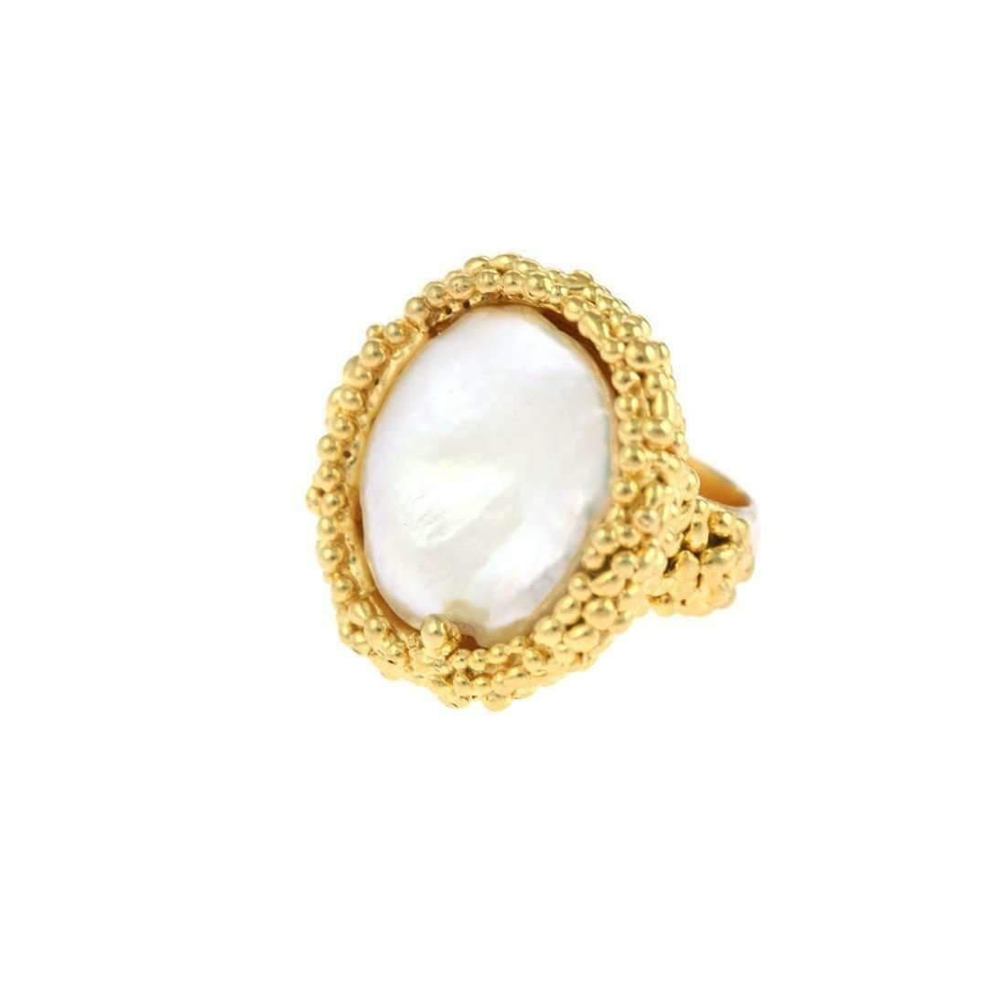 Militza Ortiz Organica Cocktail Ring - Gold With Pearl