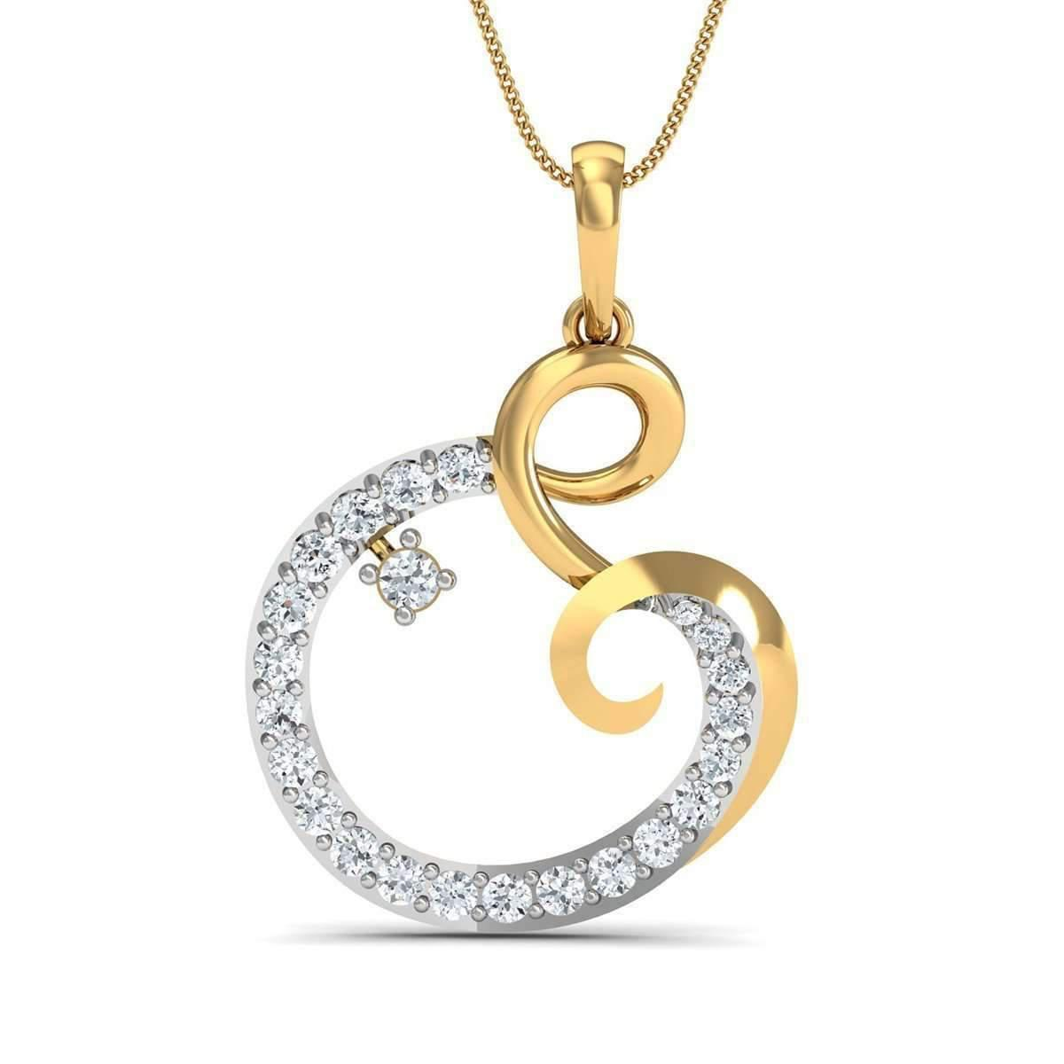 Diamoire Jewels Round Cut 24 Diamonds Pave Pendant in 14kt Yellow Gold y41GhTszb