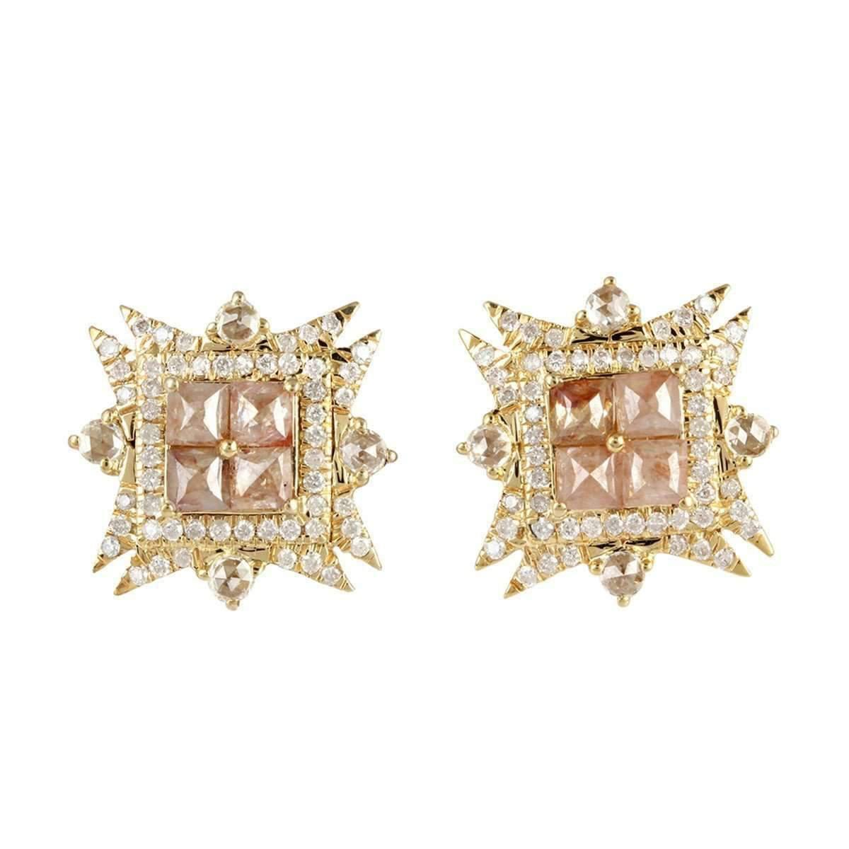 Socheec Arrow-Squared Diamond Stud Earrings 9FFFcm