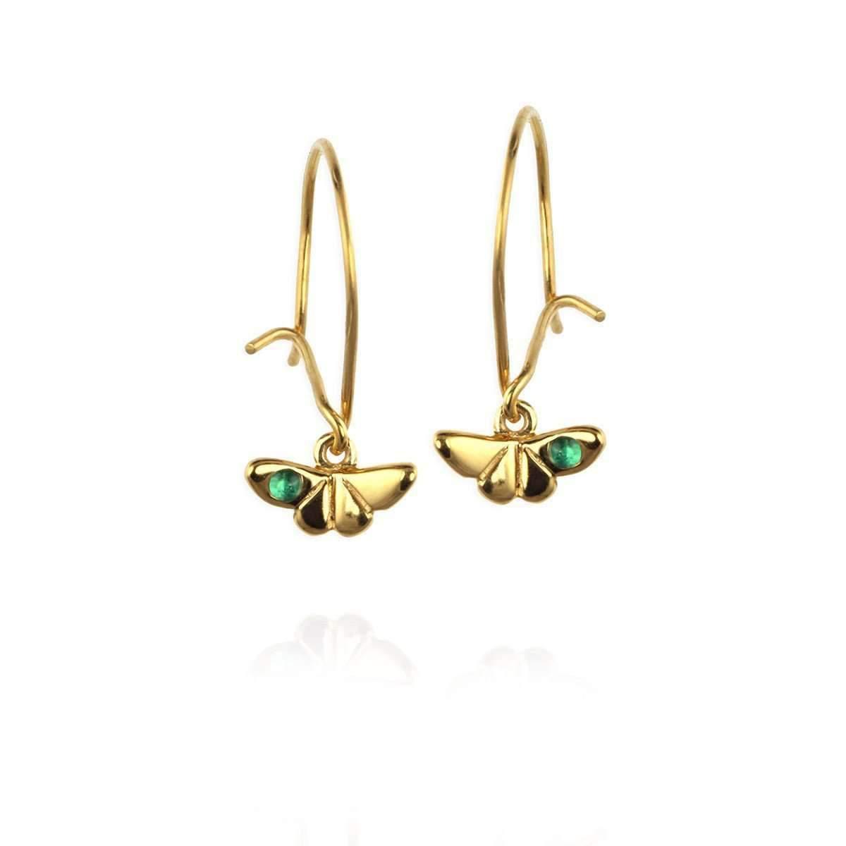 Jana Reinhardt Gold Plated Silver Tiny Sparrow Hook Earrings DcY72