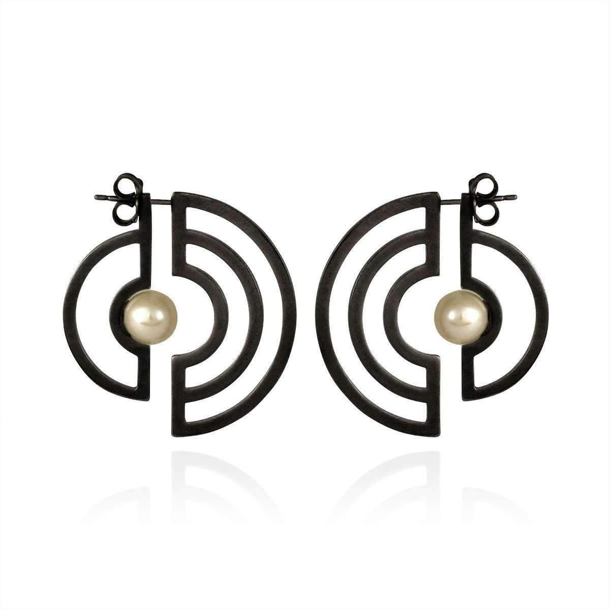 Cara Tonkin Oxidised Silver Orbit Solaris Earrings ajei7
