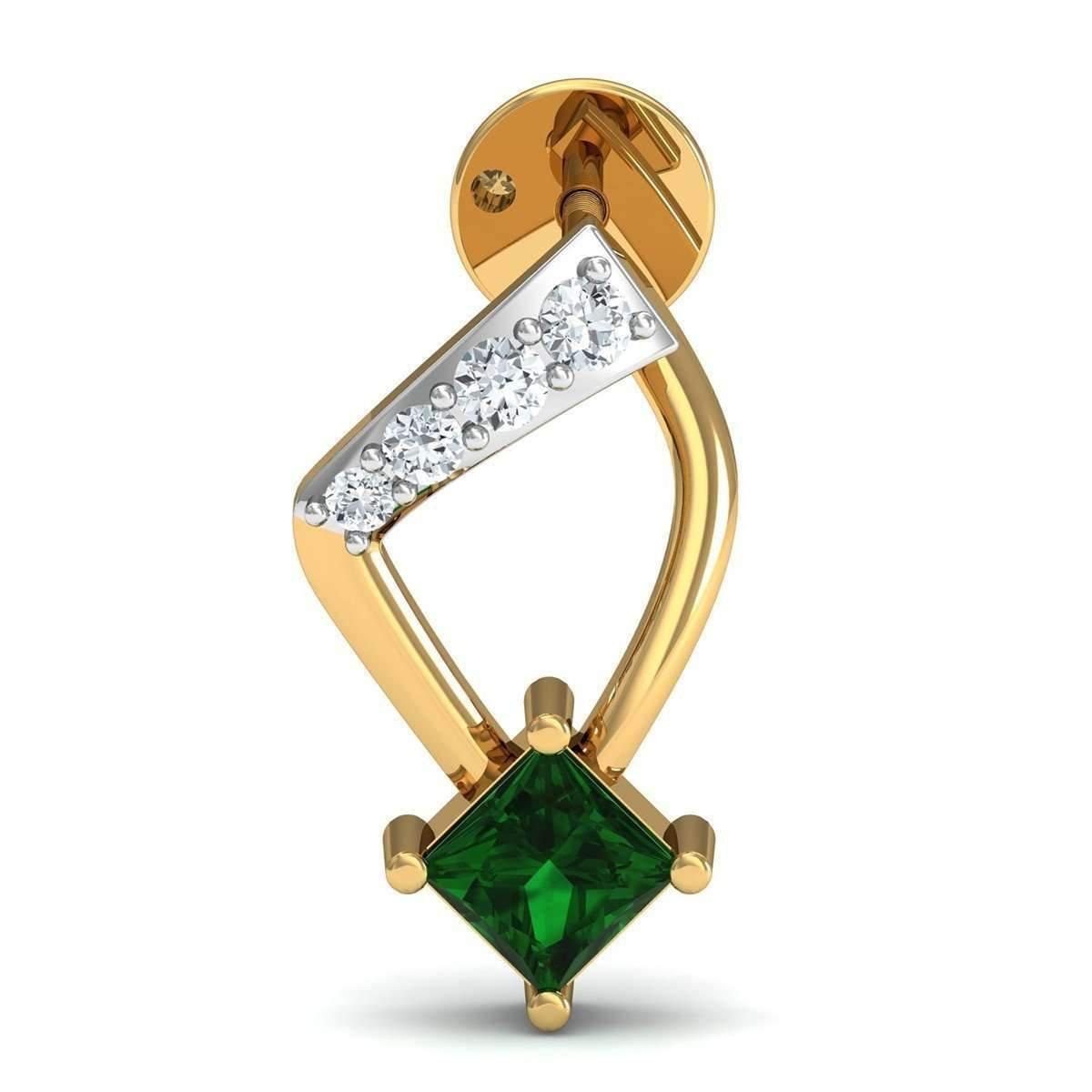 Diamoire Jewels Emerald Cut Emerald Pendant with Premium Diamonds in 18kt Yellow Gold eO1MFxEt0