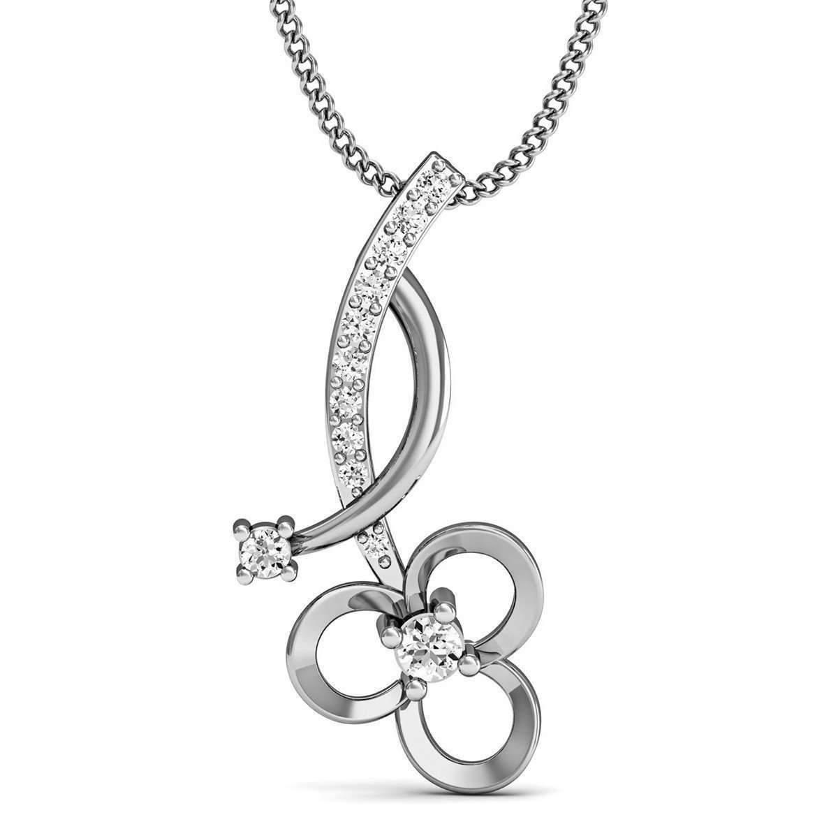 Diamoire Jewels Diamond and 10kt White Gold Nature Inspired Designer Pendant by Diamoire KajILE