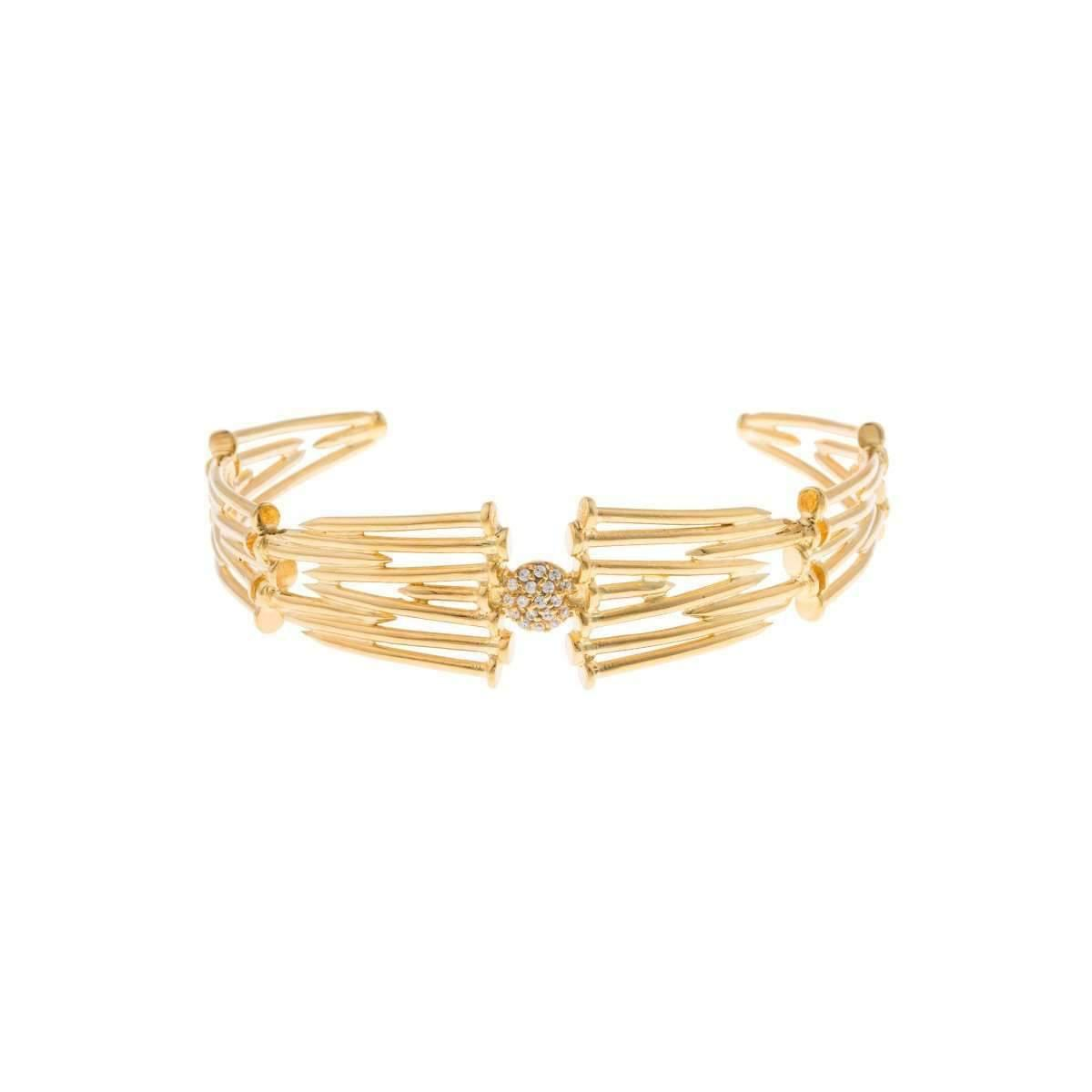 Joanna Laura Constantine Monochrome Statement Cuff Bracelet in Gold-Plated Brass with Yashma and Light Pink coral pQIxpdth2
