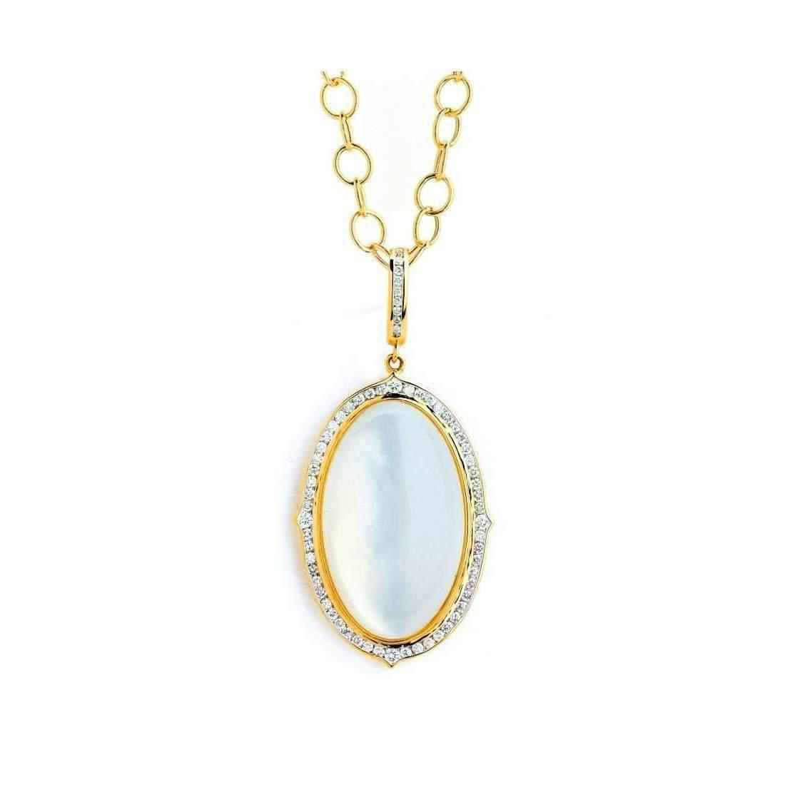 Syna 18kt Large Drop Pendant With Champagne Diamonds on 18kt Chain iPFRLHC
