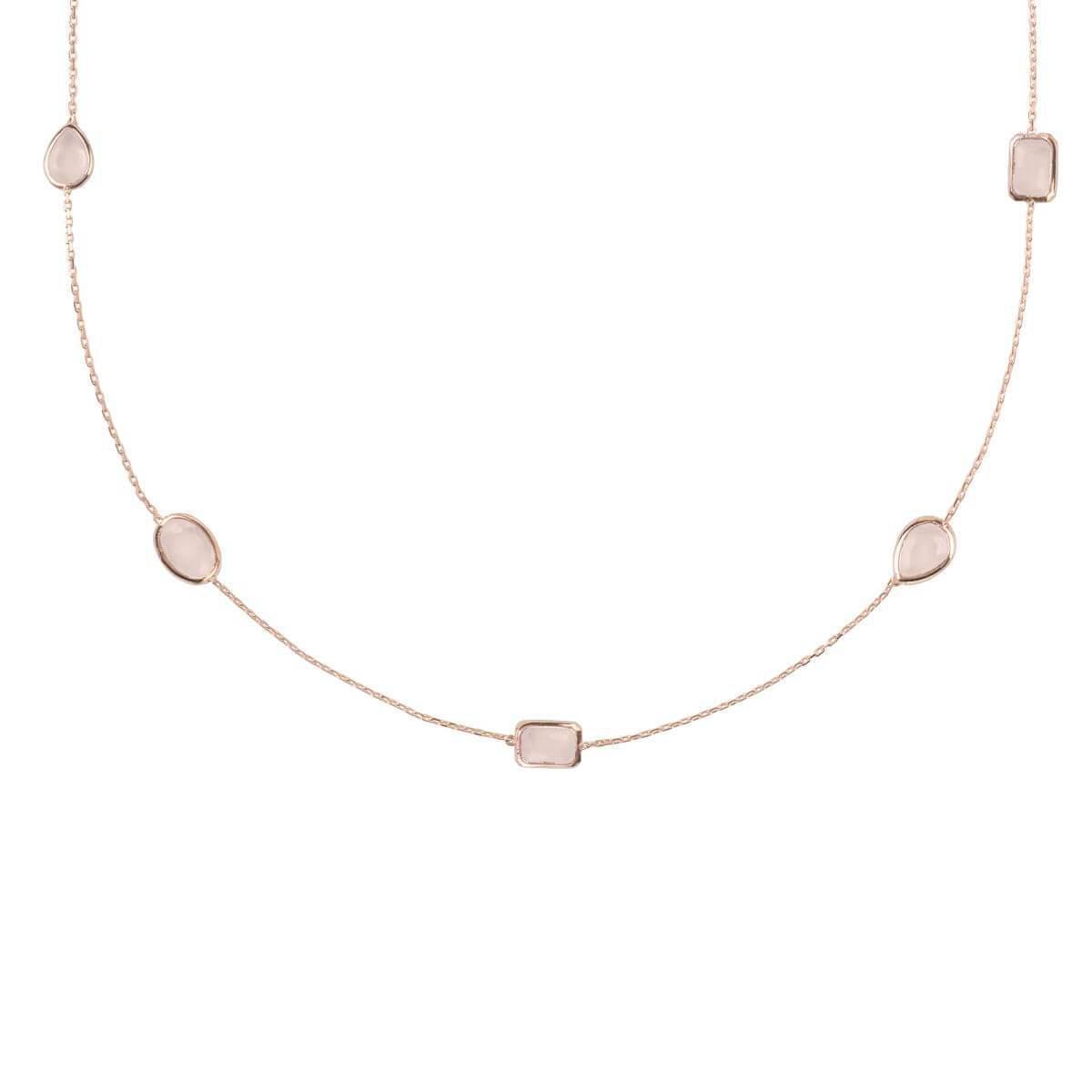 Latelita London Venice Long Chain Necklace Rose Gold Smoky Quartz HEYvp