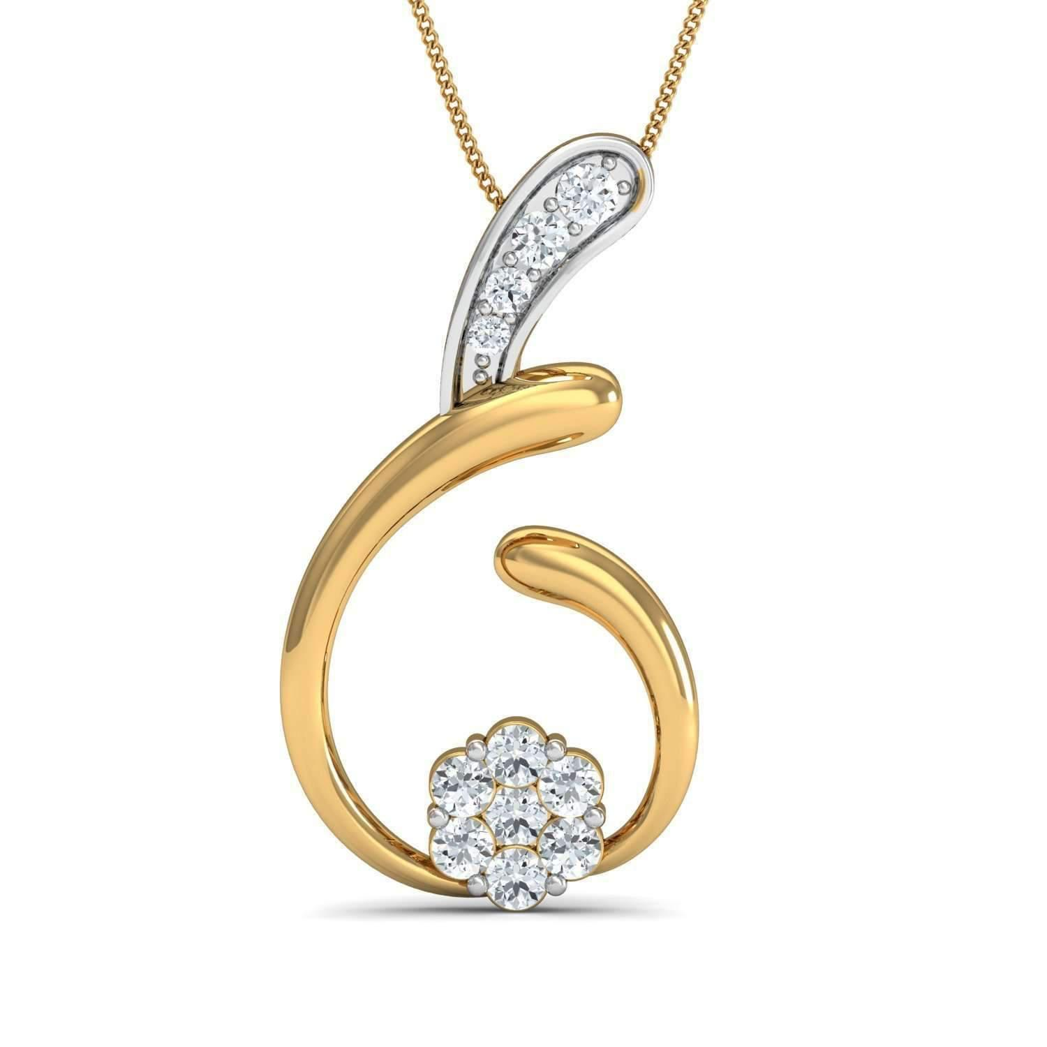 Diamoire Jewels Diamond and 10kt Yellow Gold Pave Pendant