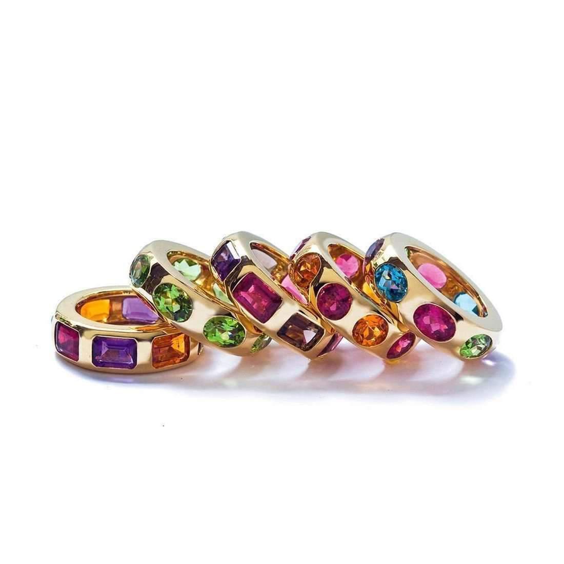 Goshwara Gossip Rubelite Oval Stackable Rings with Diamonds - 6.5 (M) WNcOP