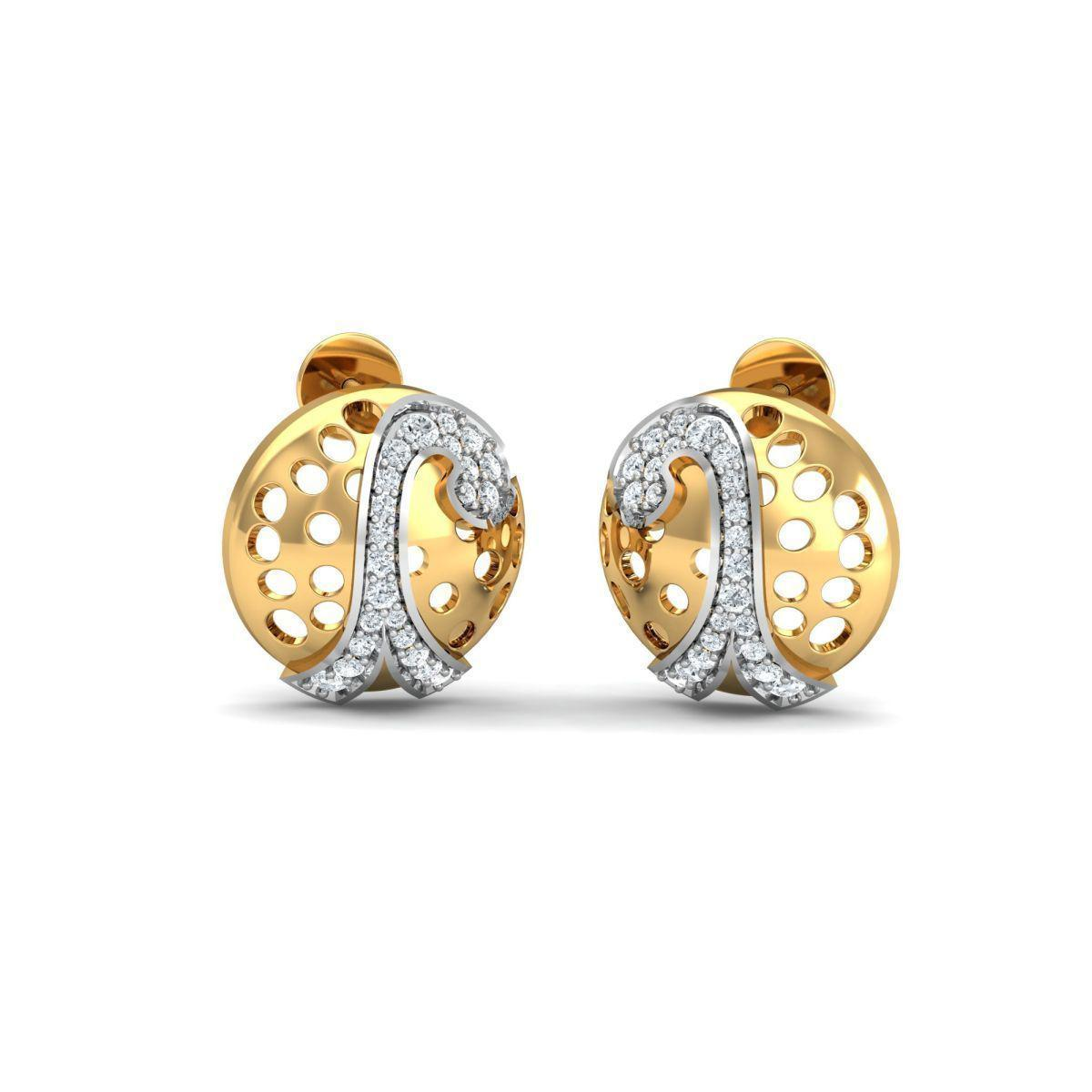Diamoire Jewels 18kt Yellow Gold 0.18ct Pave Diamond Infinity Earrings I a67e6c