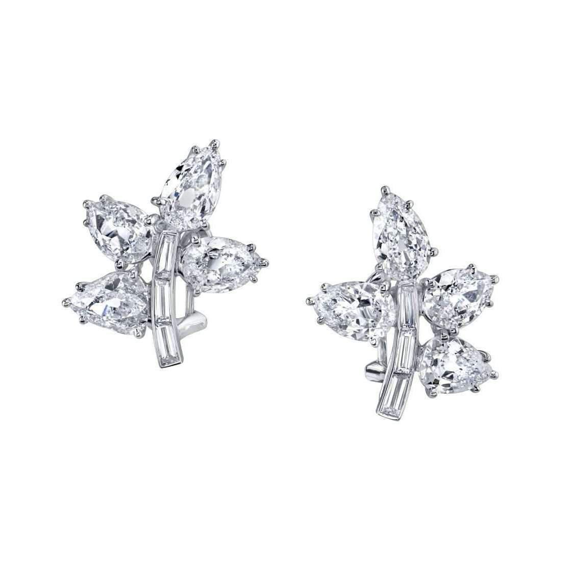 Harry Kotlar Tribute to Helen, Old Mine Cut Fancy Cut Diamond Cluster Earrings