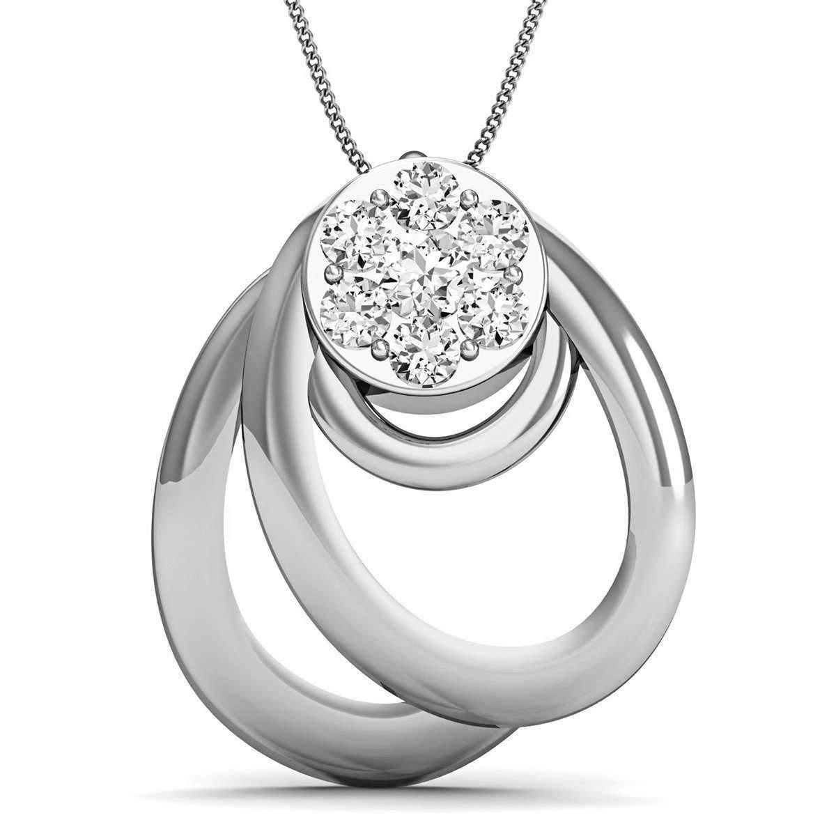 Diamoire Jewels Diamond and 10kt White Gold Nature Inspired Designer Pendant by Diamoire mDIV1ZxV