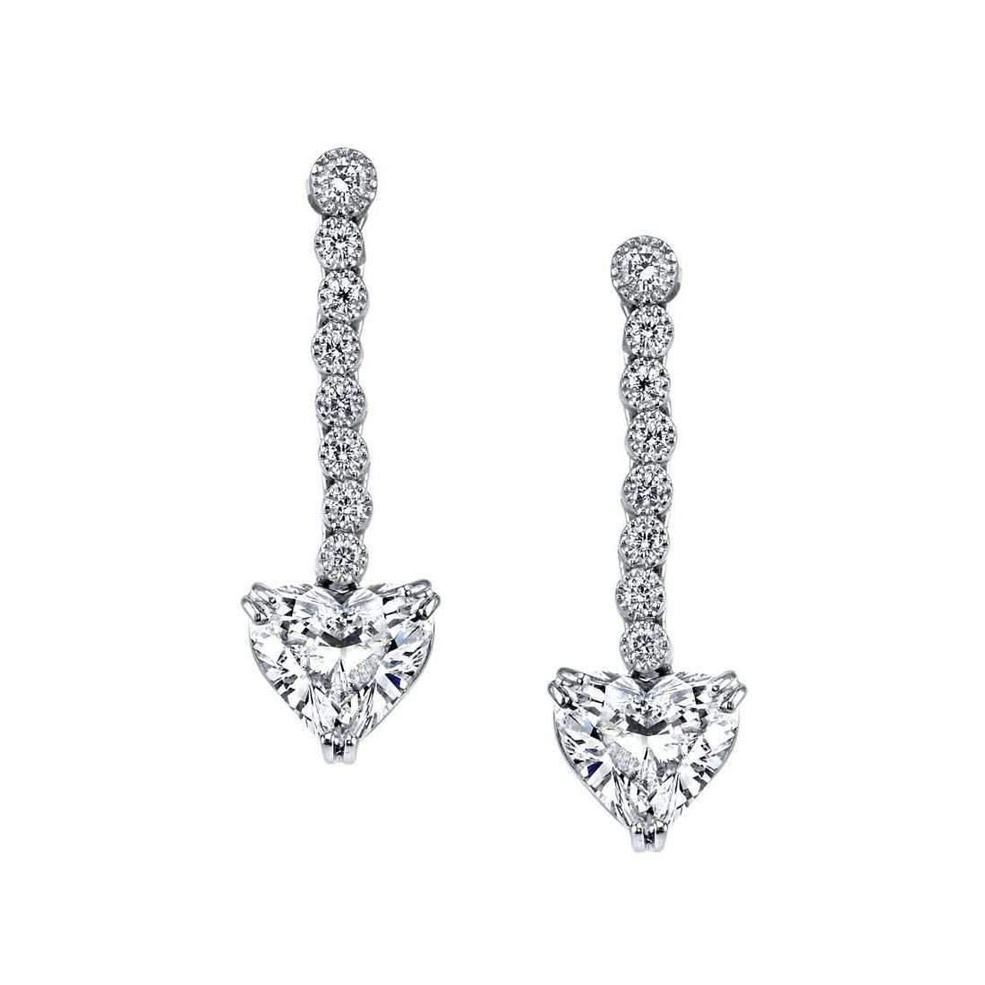 Harry Kotlar Alternating Hearts & Cushion Cut diamond Drop Earrings 1matMyi4