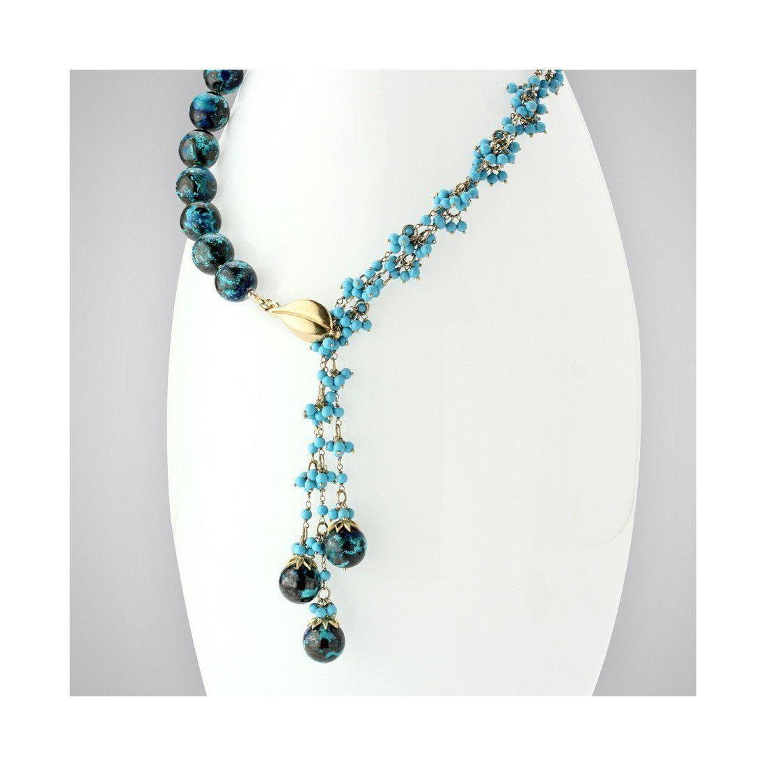 Elisa Ilana Jewelry Yellow Gold, Chrysocolla & Turquoise Necklace | in Blue