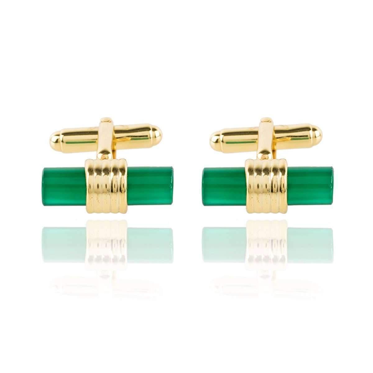 Latelita London Cylindrical Cufflink Gold Green Onyx p53UsD9G