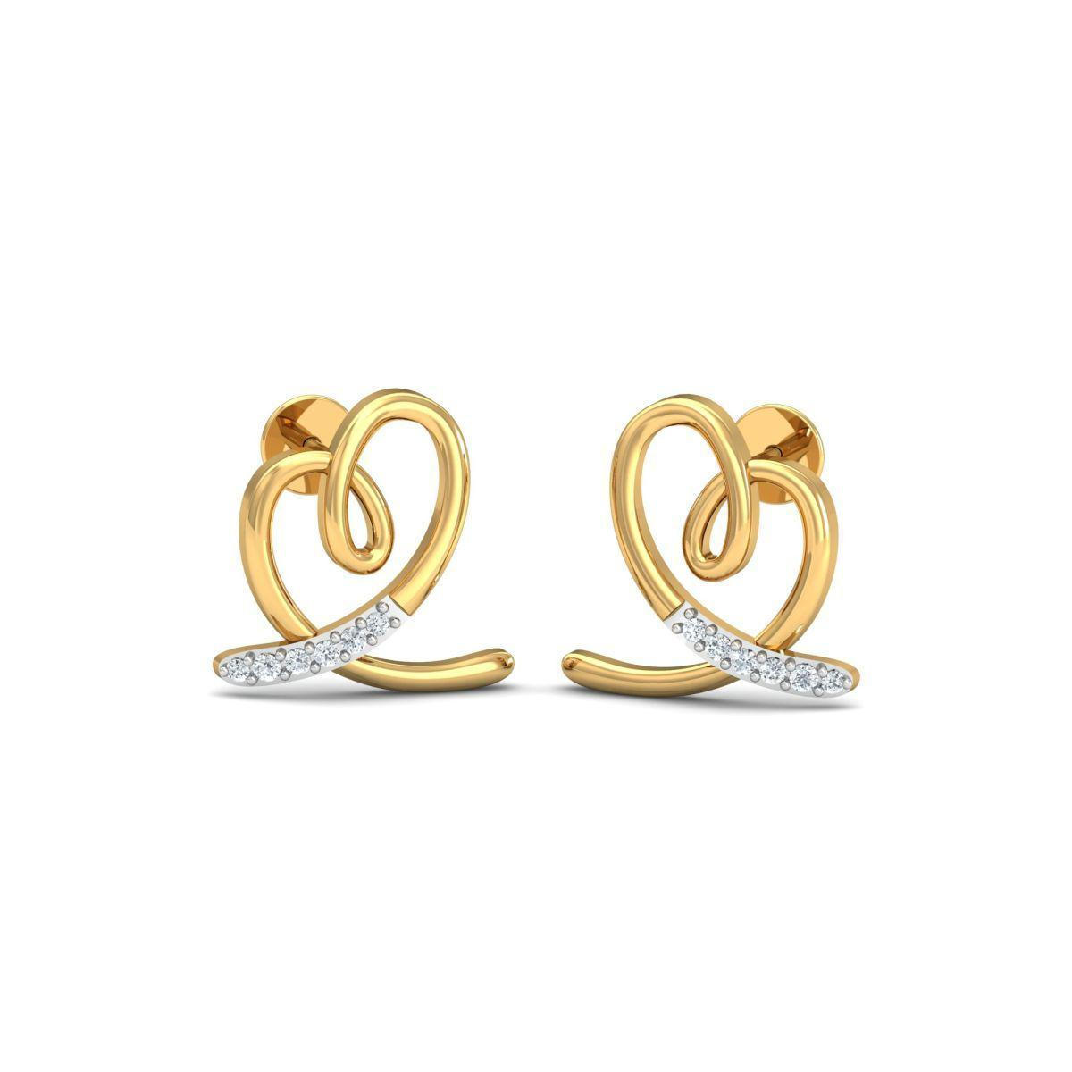 Diamoire Jewels 18kt Yellow Gold 0.07ct Pave Diamond Infinity Earrings II KTEJC0PF