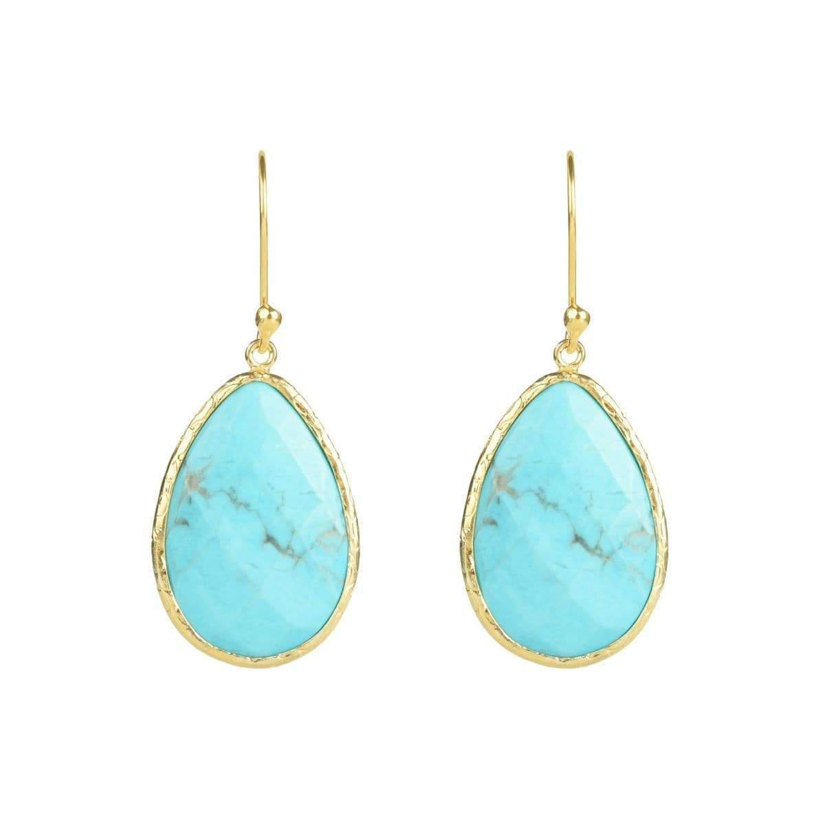 Latelita London Gold Single Drop Earring in Turquoise nj0TJIAW