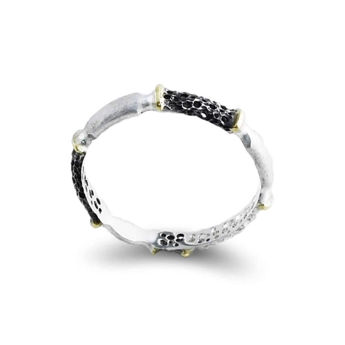 Agneta Bugyte Sterling Silver & 14kt Gold Contrast Ring in Metallic