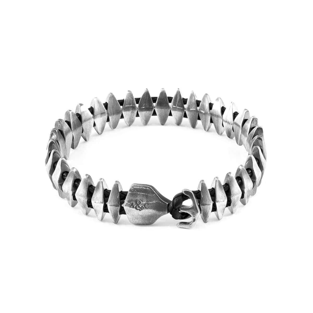 Anchor & Crew Black Delta Anchor Silver & Braided Leather Bracelet JuGu3