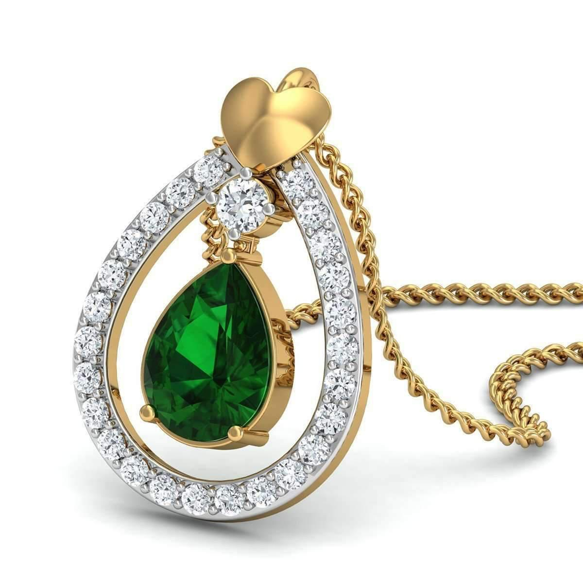Diamoire Jewels Nature Inspired Prong Set Brazilian Emerald and Diamond Pendant in 18kt Yellow Gold DCWiKK