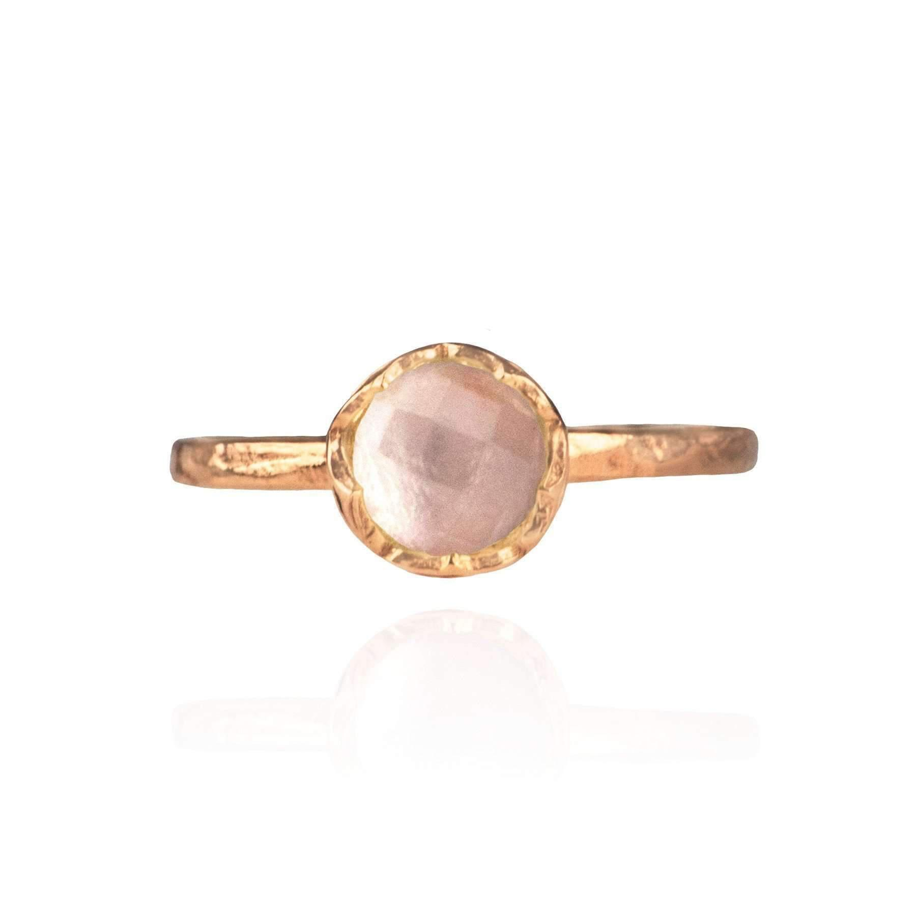Zefyr Dosha Ring Rose Gold With Rose Quartz - UK T 1/2 - US 10 - EU 62 1/4 z36l4