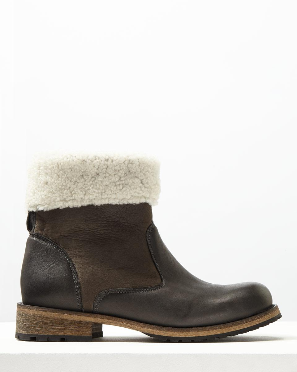 Jigsaw Leather Rae Shearling Lined Boot in Grey (Grey)