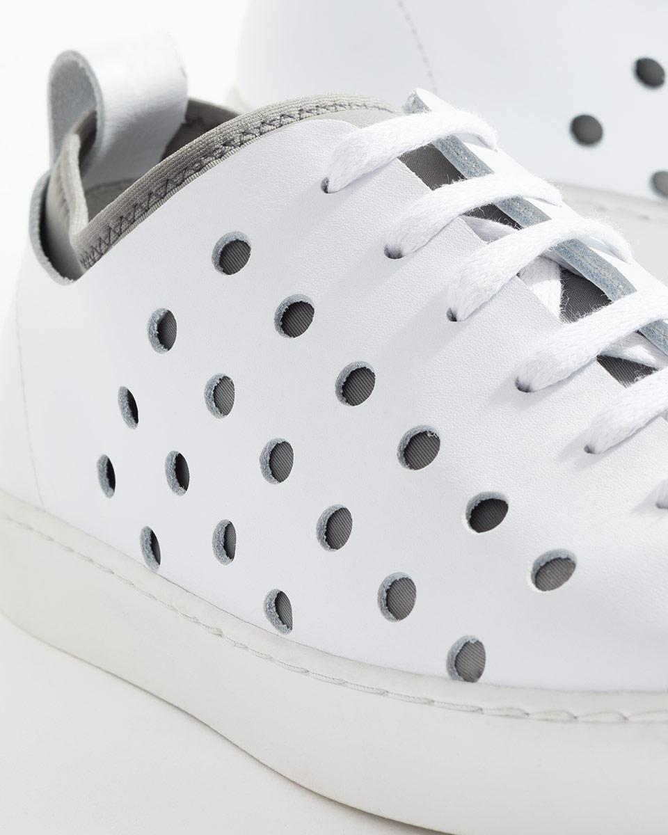 Jigsaw Leather Antibes Perforated Trainers in White