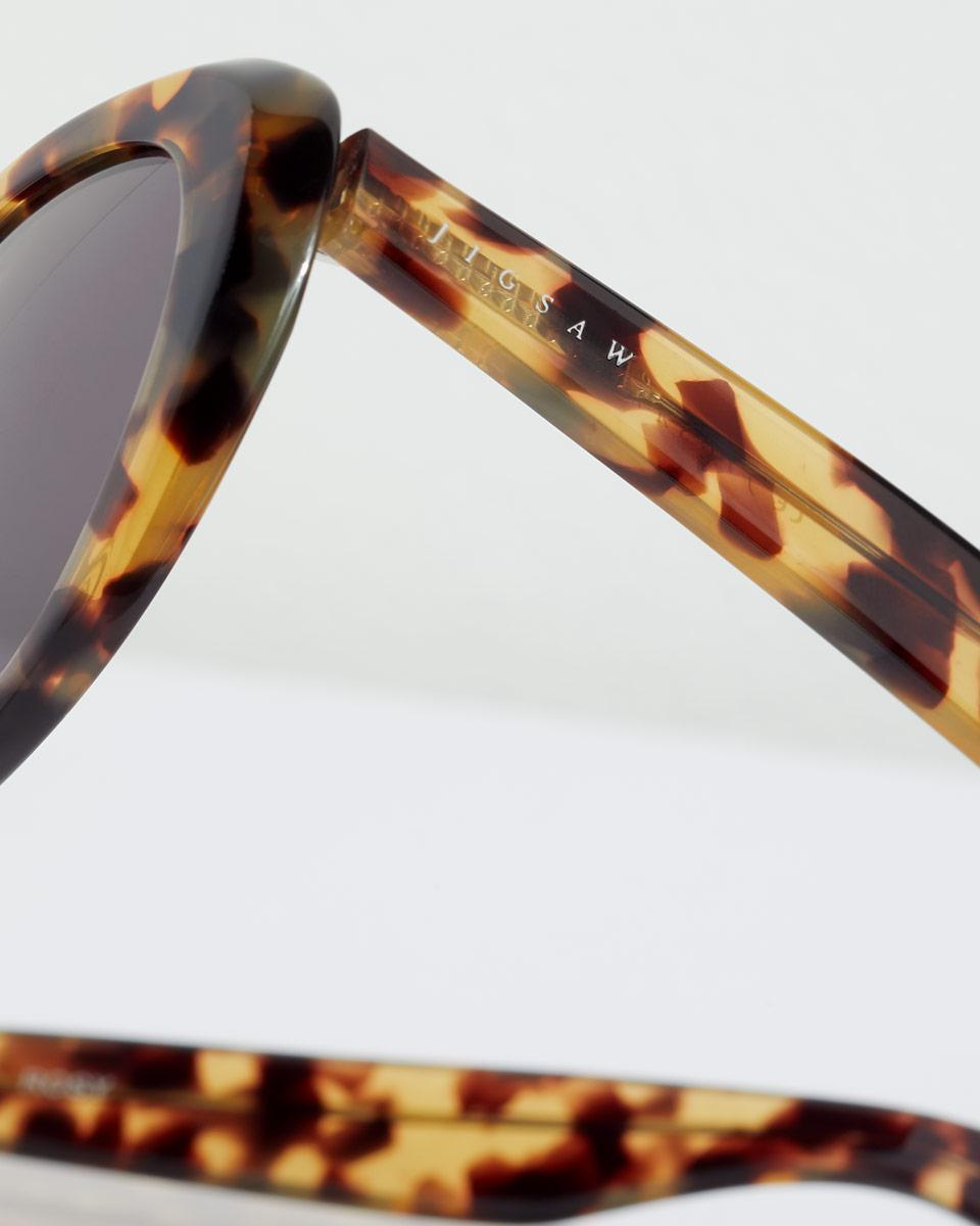 Jigsaw Rosy Oval Cat Eye Frame Sunglasses in Brown