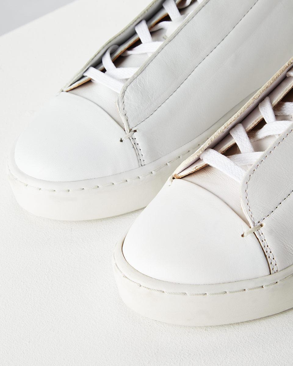 Jigsaw Zanna Leather Trainer in White