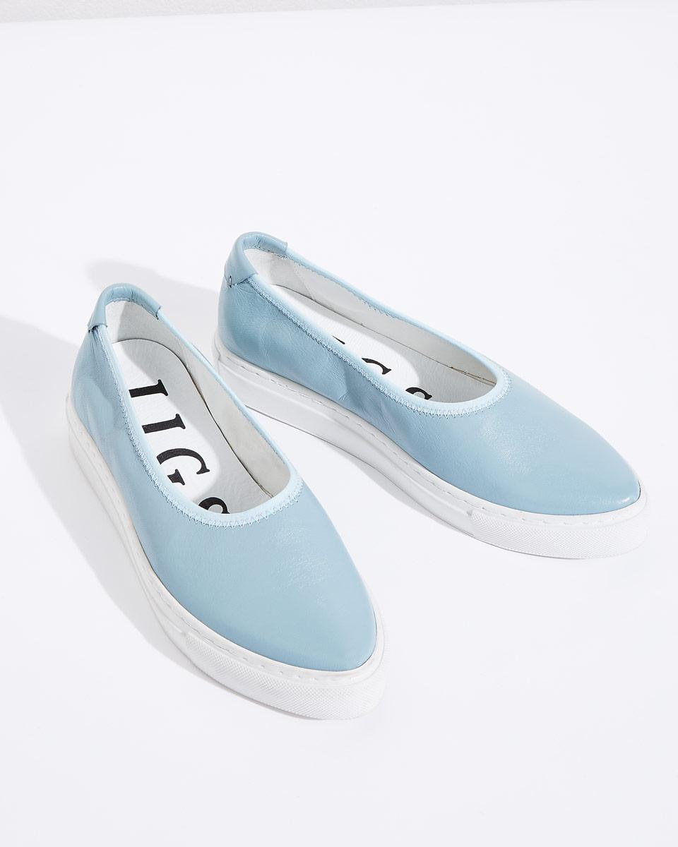 Jigsaw Leather Agde Open Soft Trainers in Blossom Blue (Blue)