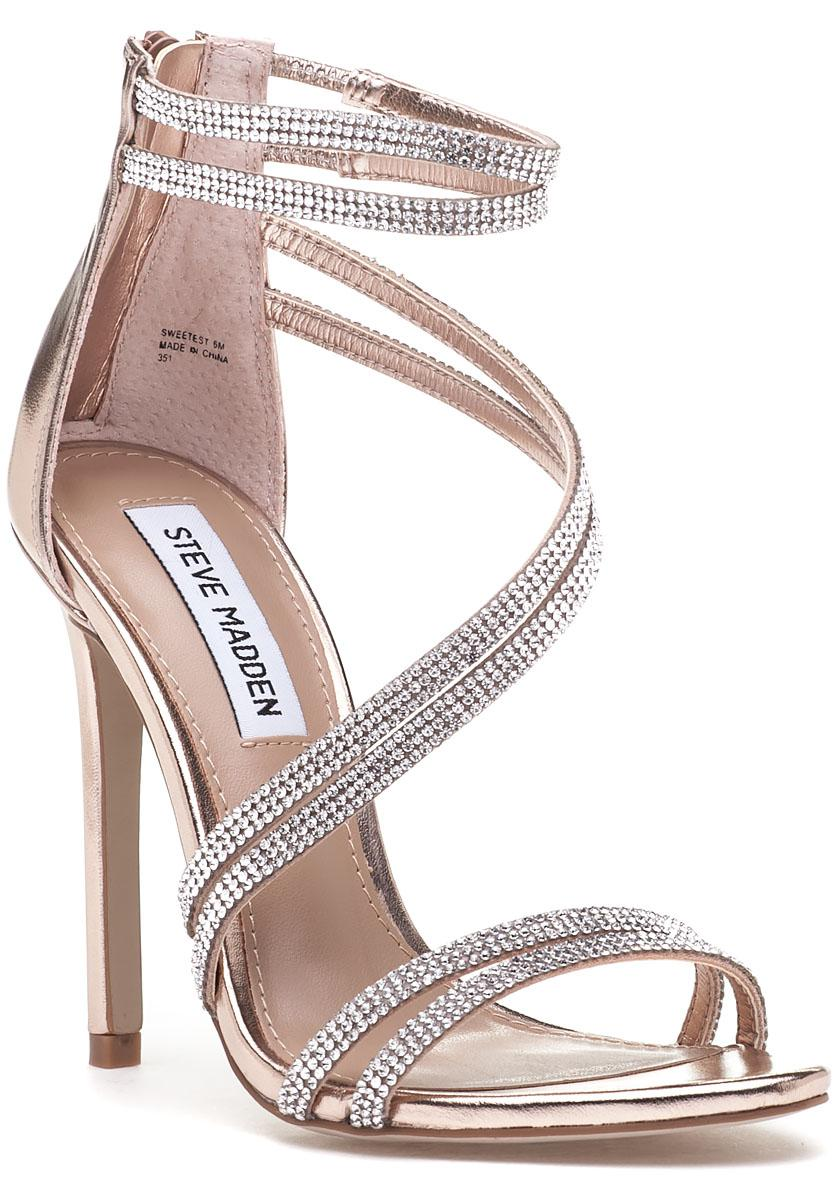 14a9452ca45 Lyst - Steve Madden Sweetest Rose Gold Rhinestone Sandal in Metallic