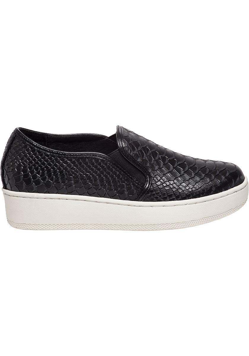 J Slides Leather Jibbie Snake Embossed Slip On Sneakers In