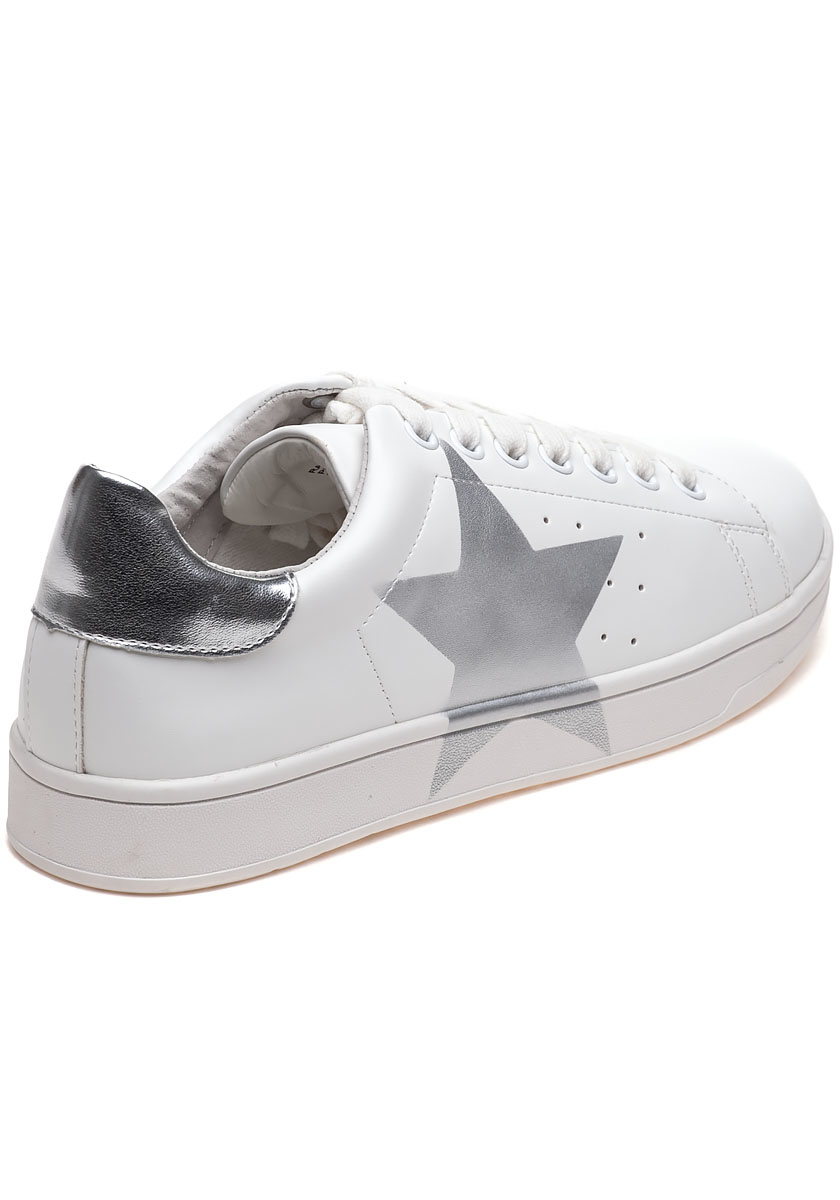 Rayner White And Silver Star Sneaker - Lyst