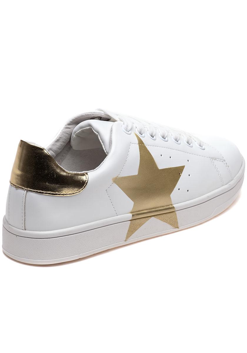 d82c6f46066 Lyst - Steve Madden Rayner White And Gold Star Sneaker