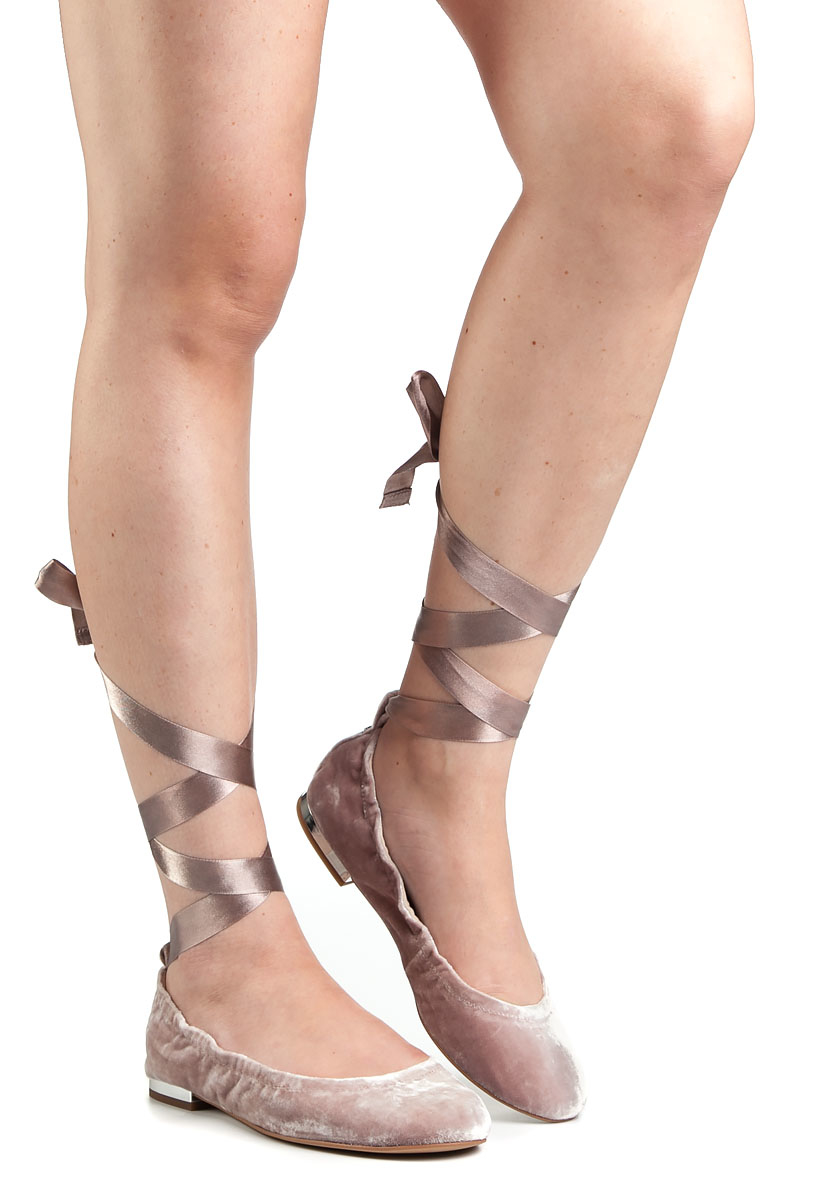 c86aa1542 Sam Edelman Fallon Pink Velvet Lace-Up Ballet Flats in Pink - Lyst