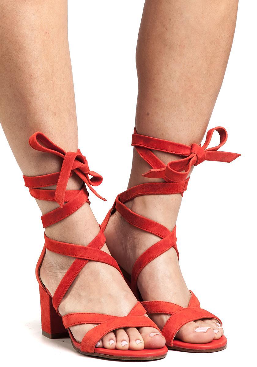 399e76277c4 Sam Edelman Sheri Red Suede Sandal in Red - Lyst