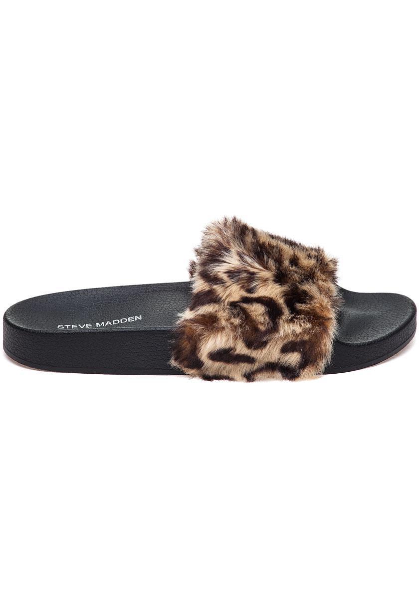 675951ba1077 Lyst - Steve Madden Softey Leopard Fluffy Slide