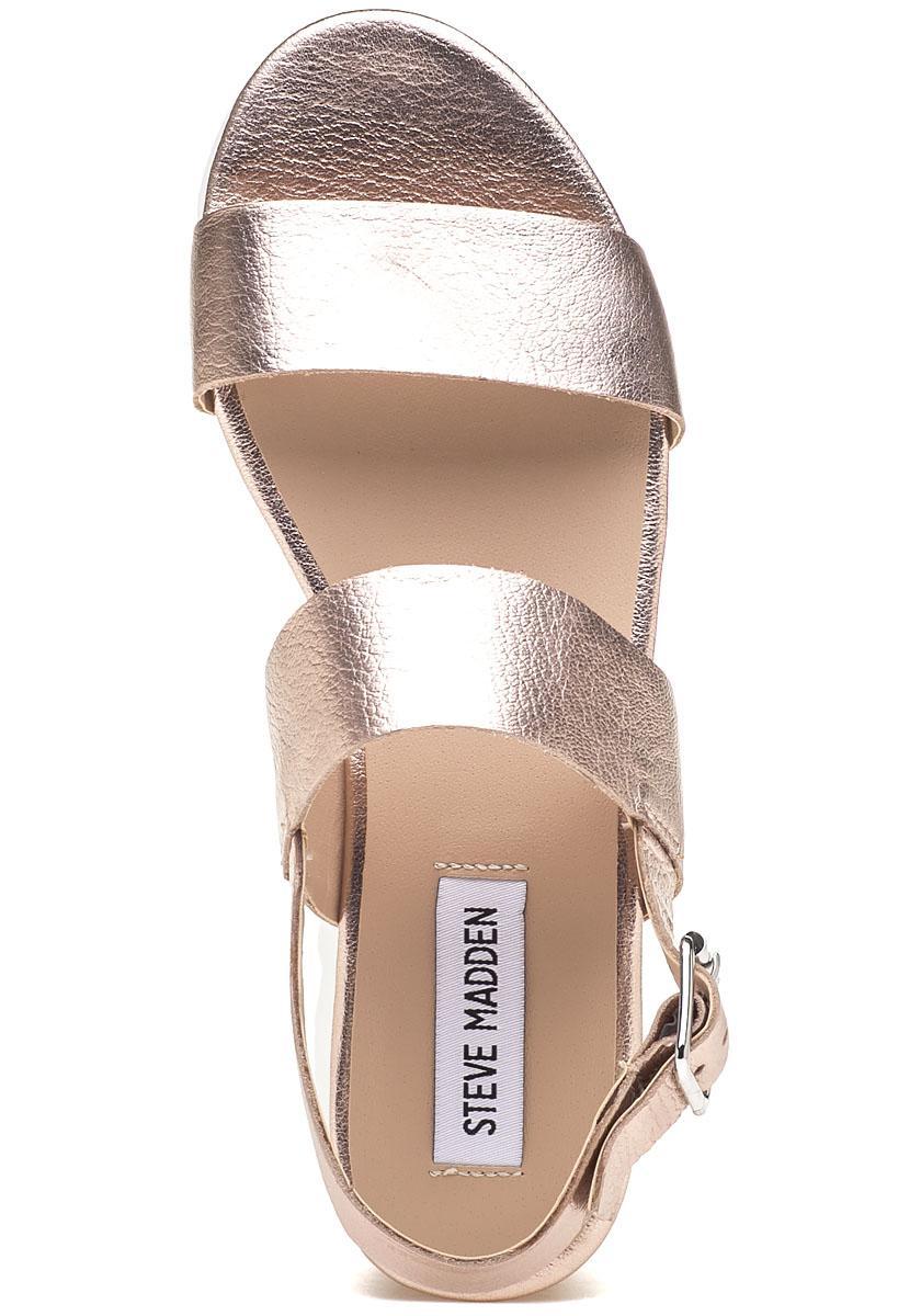 a3e30fea453 Lyst - Steve Madden Krista Rose Gold Platform Sandal in Metallic