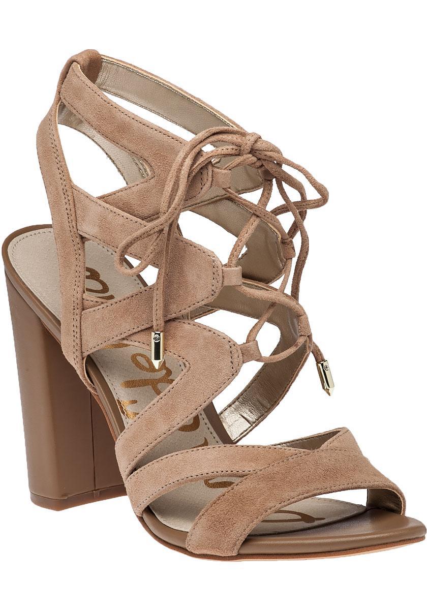1c4ebc064da4 Sam Edelman Yardley Camel Suede Lace-up Sandal in Natural - Lyst