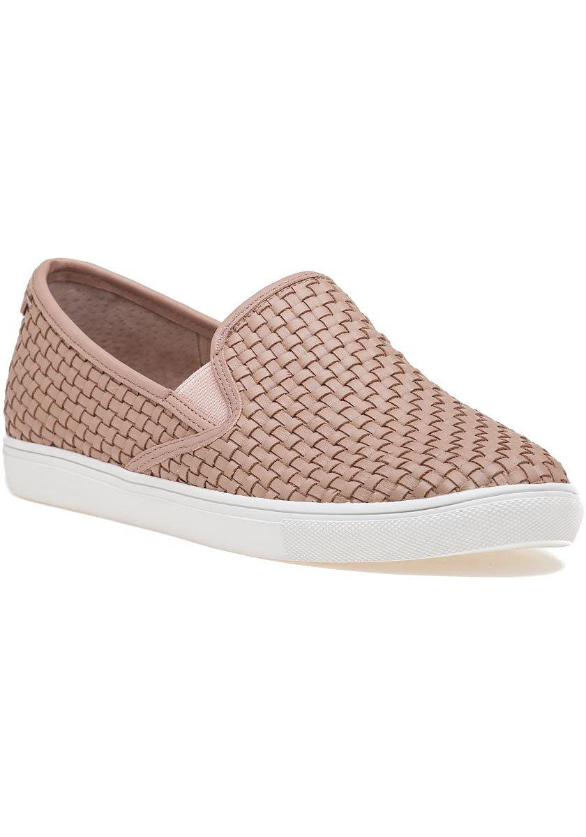 J Slides Calina Woven Slip On Sneaker Blush Leather In
