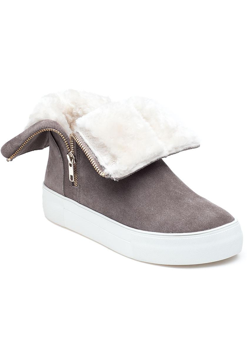 J/Slides Allie Taupe Suede Boot in Gray