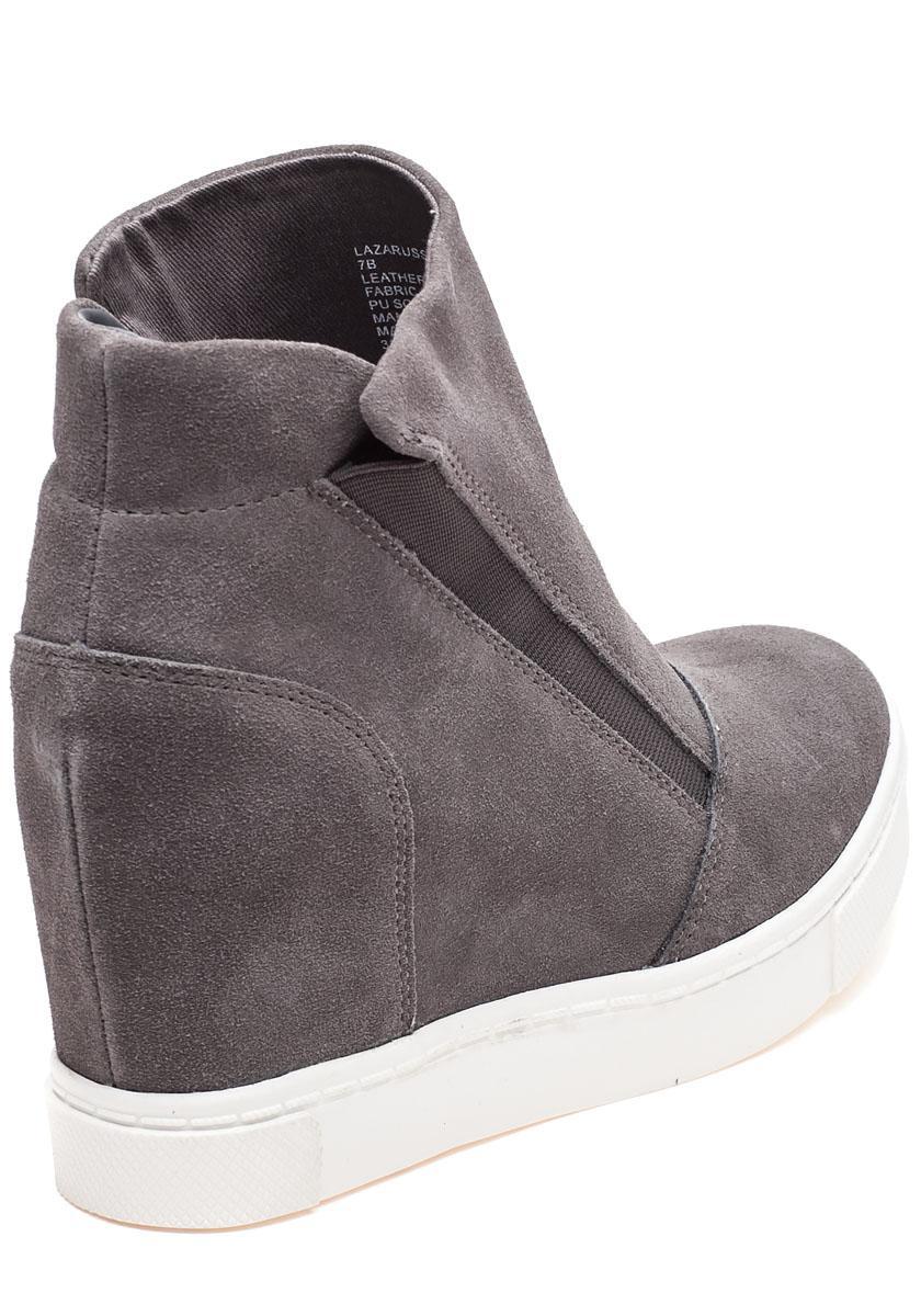 c9f26e50113 Lyst - Steve Madden Lazaruss Grey Suede Sneaker Wedge in Gray