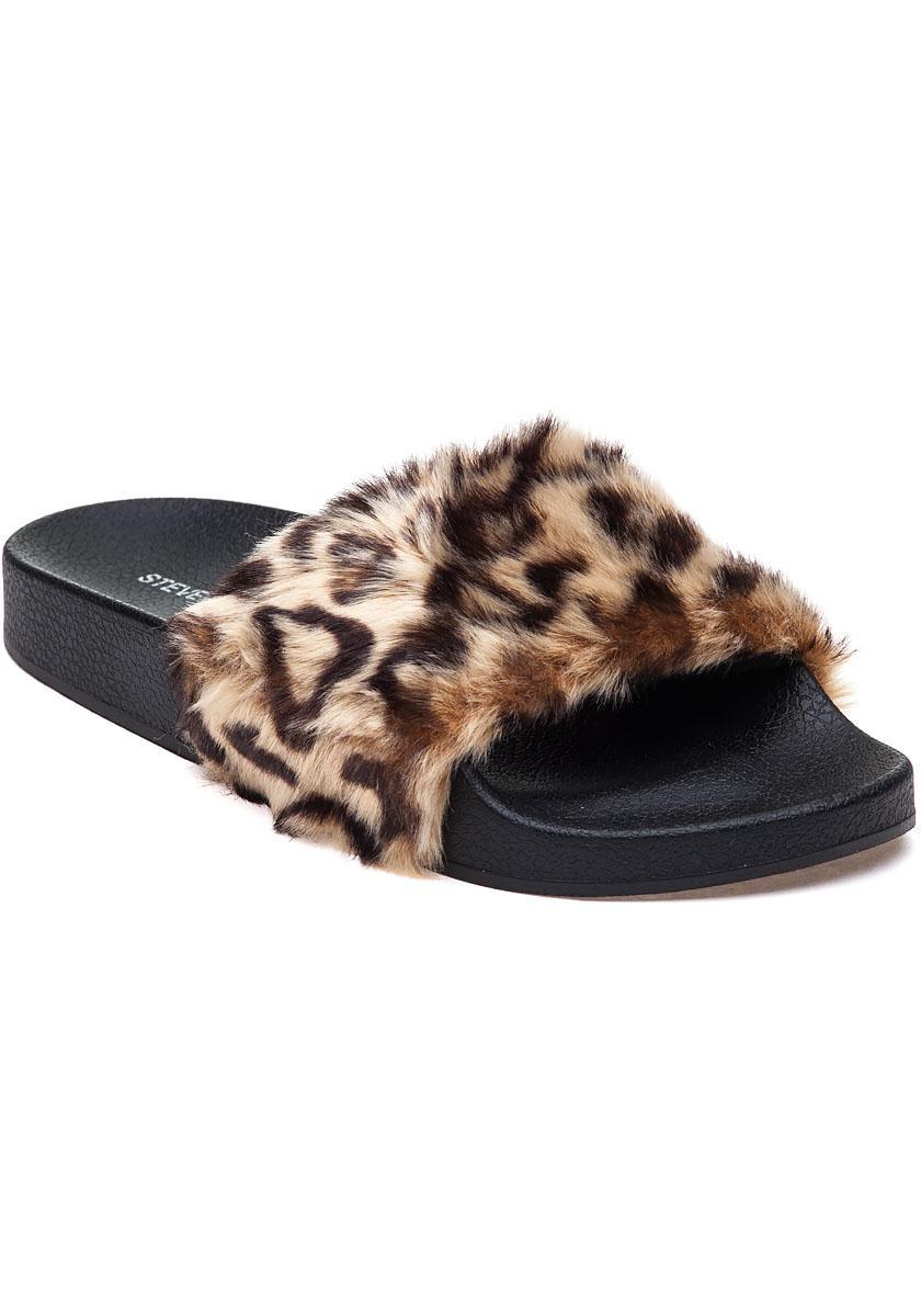 Mens Leopard Slide