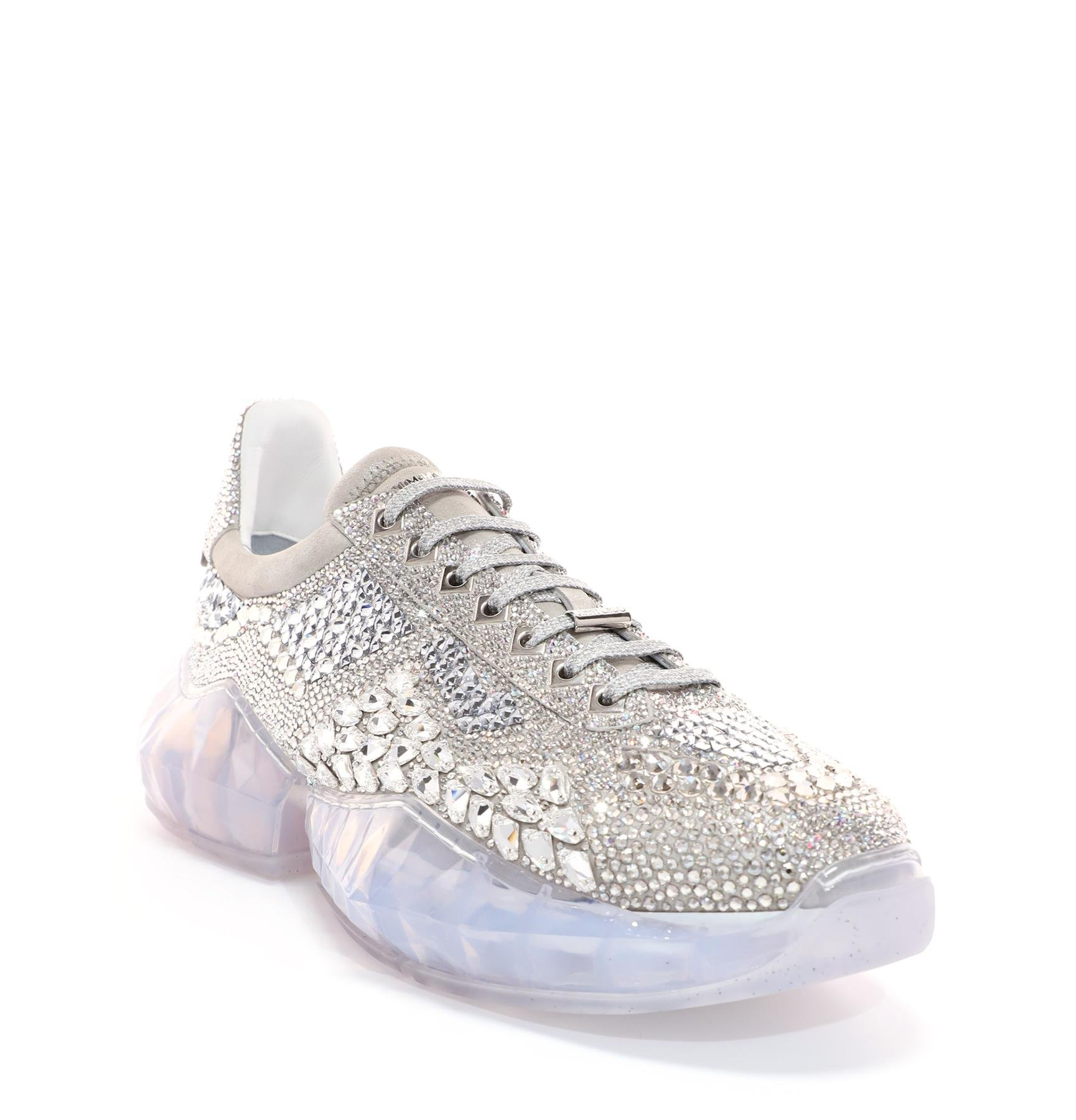 Lyst Jimmy Choo Diamond M Crystal Shimmer Suede Trainers With