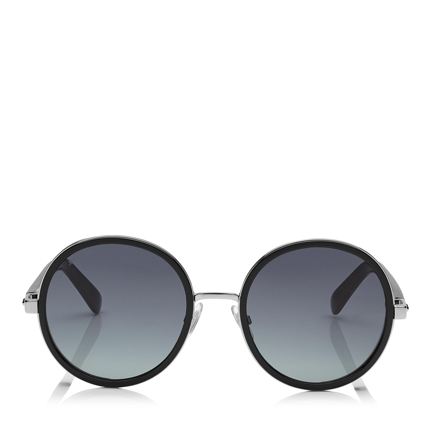 f9d5156aab3 Lyst - Jimmy Choo Andie Black Acetate Round Framed Sunglasses With ...
