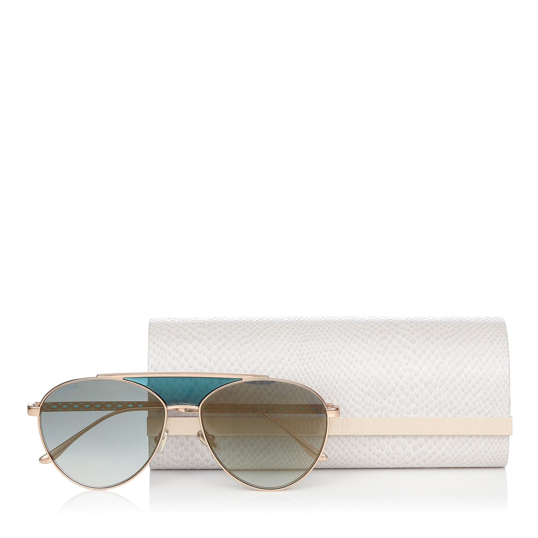 292aad2d3f1d Jimmy Choo - Ave Gold And Green Metal Aviator Sunglasses With Enamel  Detailing On Arms -. View fullscreen