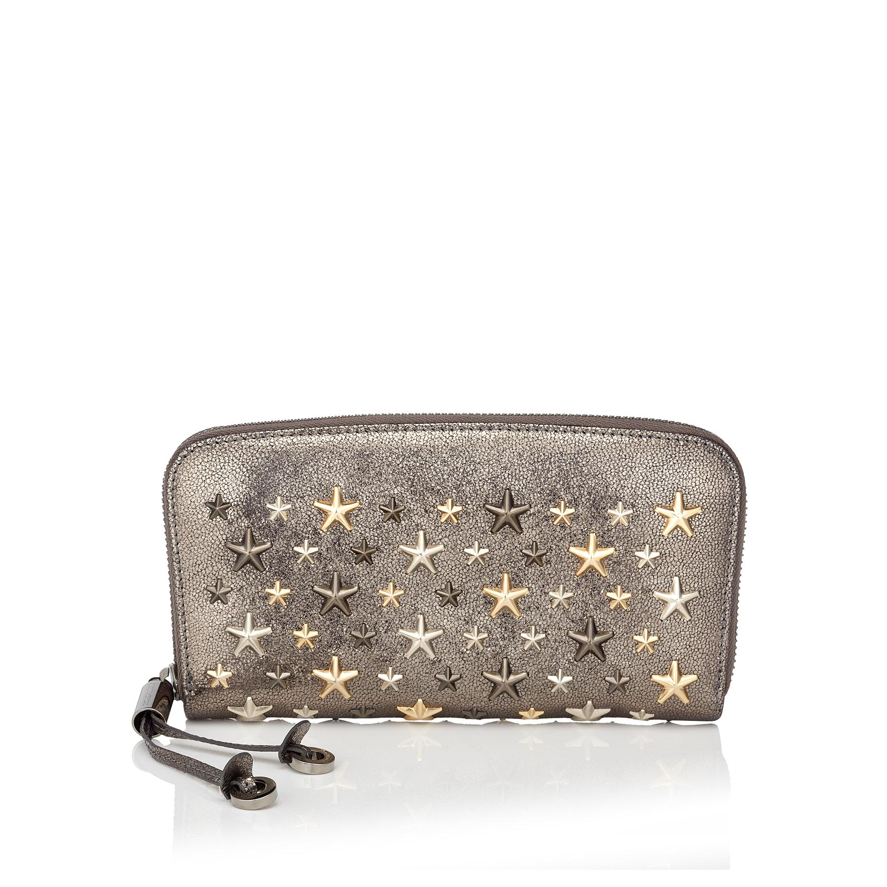 98f0797a5517 Jimmy Choo Filipa Anthracite Glitter Leather Wallet With Metallic ...